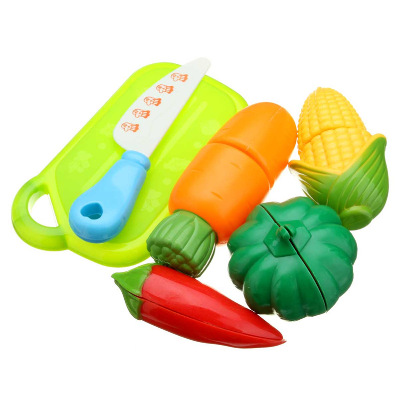 6PCS Fun Cut Vegetables Cutting Food Kitchen Playset Kids Role Paly Toy