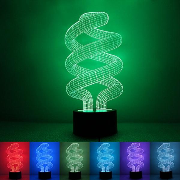 3D Tornado Illusion LED Table Desk Light USB 7 Color Ch