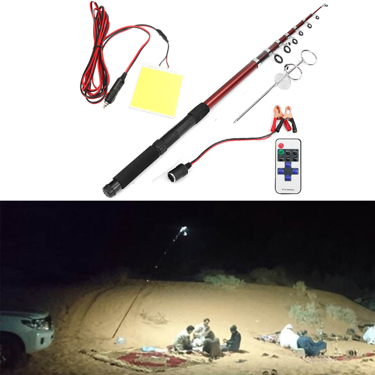 12V 200W Telescopic Fishing Lamp Car Rod Light LED Camp