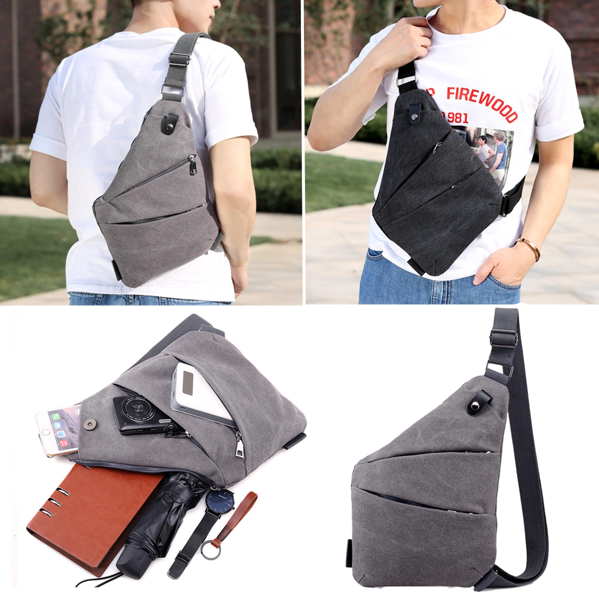 Men Anti Theft Sling Chest Bag Crossbody Shoulder Messe