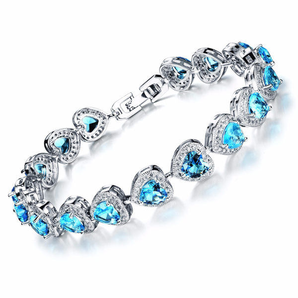 Platinum Classic Heart Micro Zircon Bracelet Fine Jewelry for Women