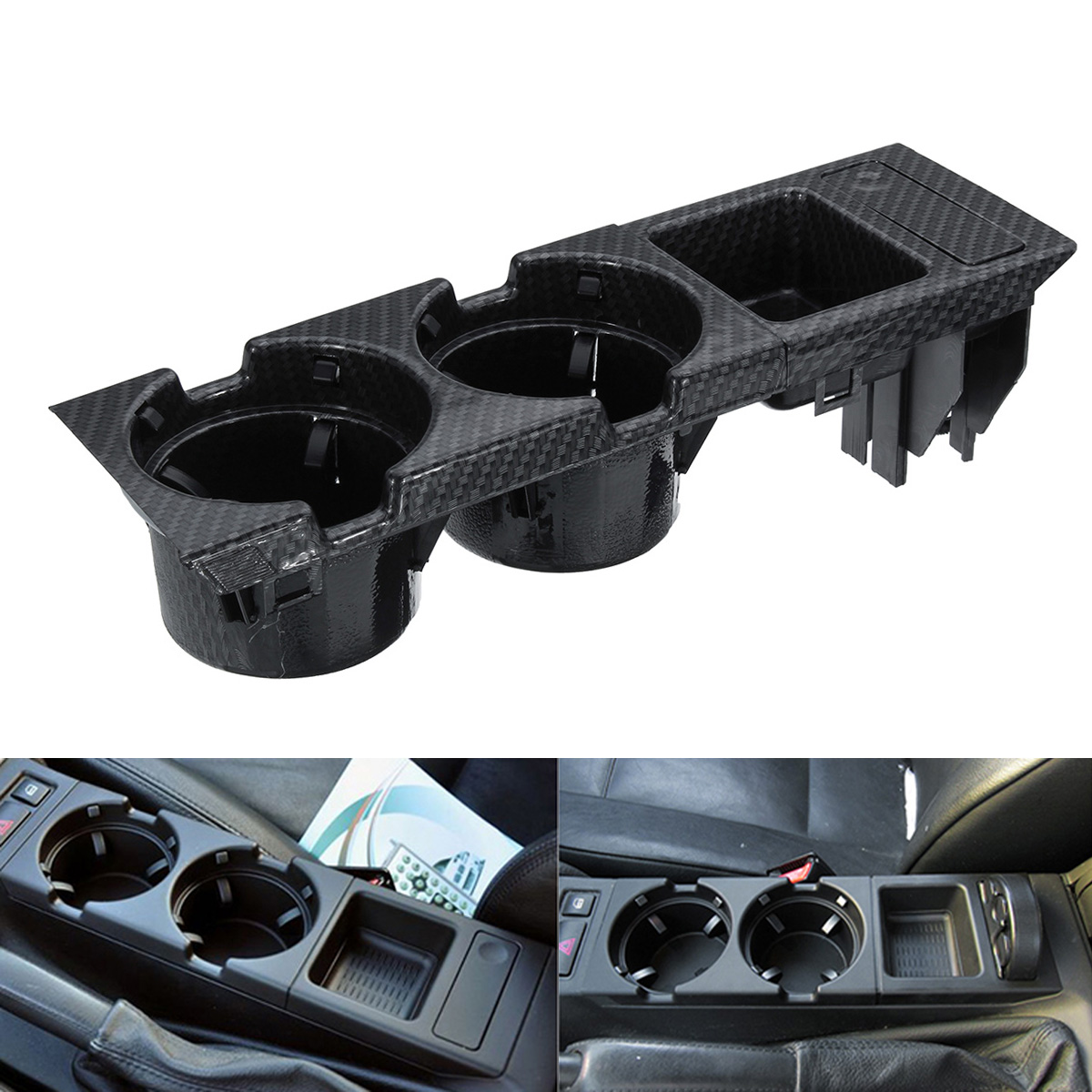 Carbon Fiber Center Console Drink Cup Coin Holder Box f