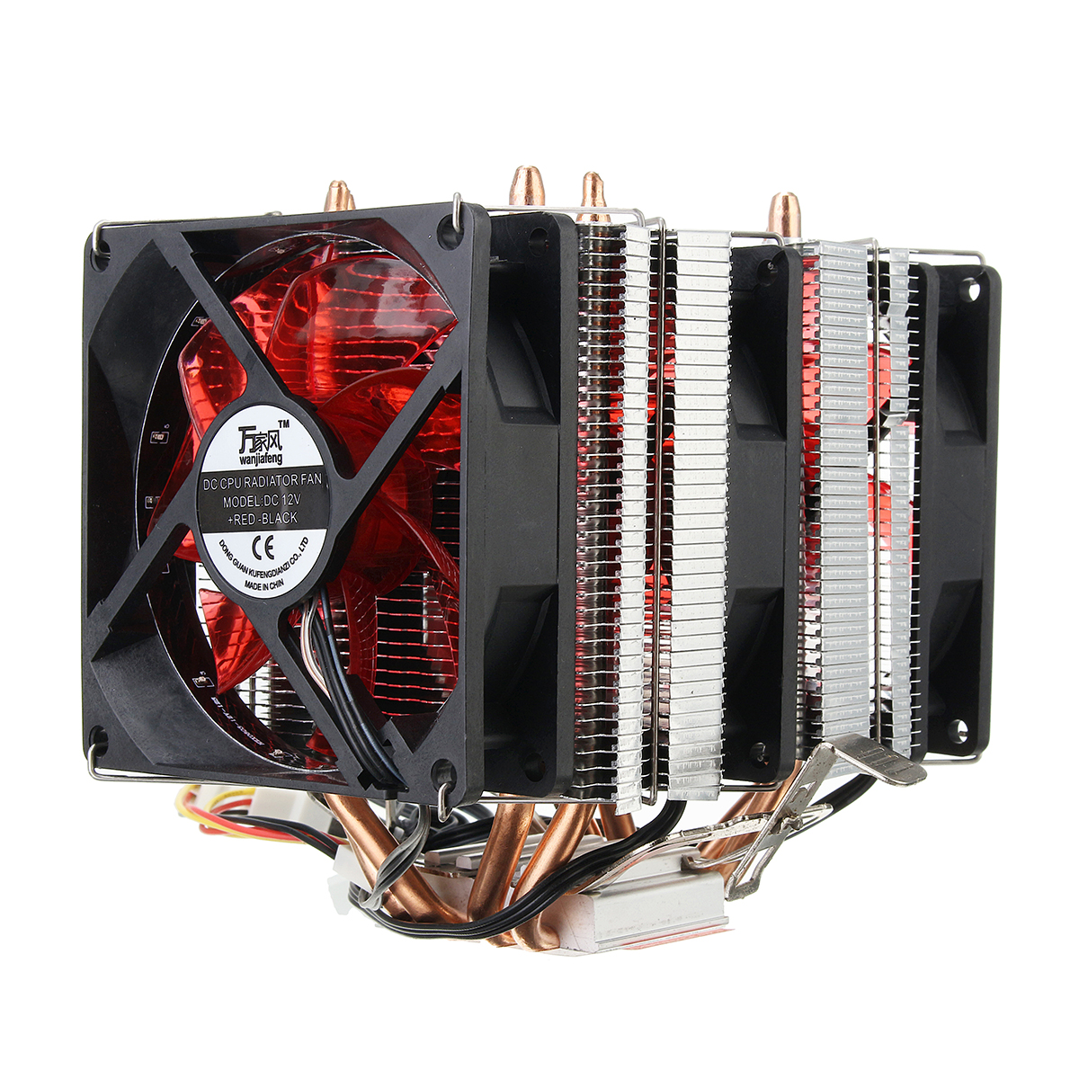 4 Heat Pipes Red Led 3 CPU Cooling Cooler Fan Heat Sink