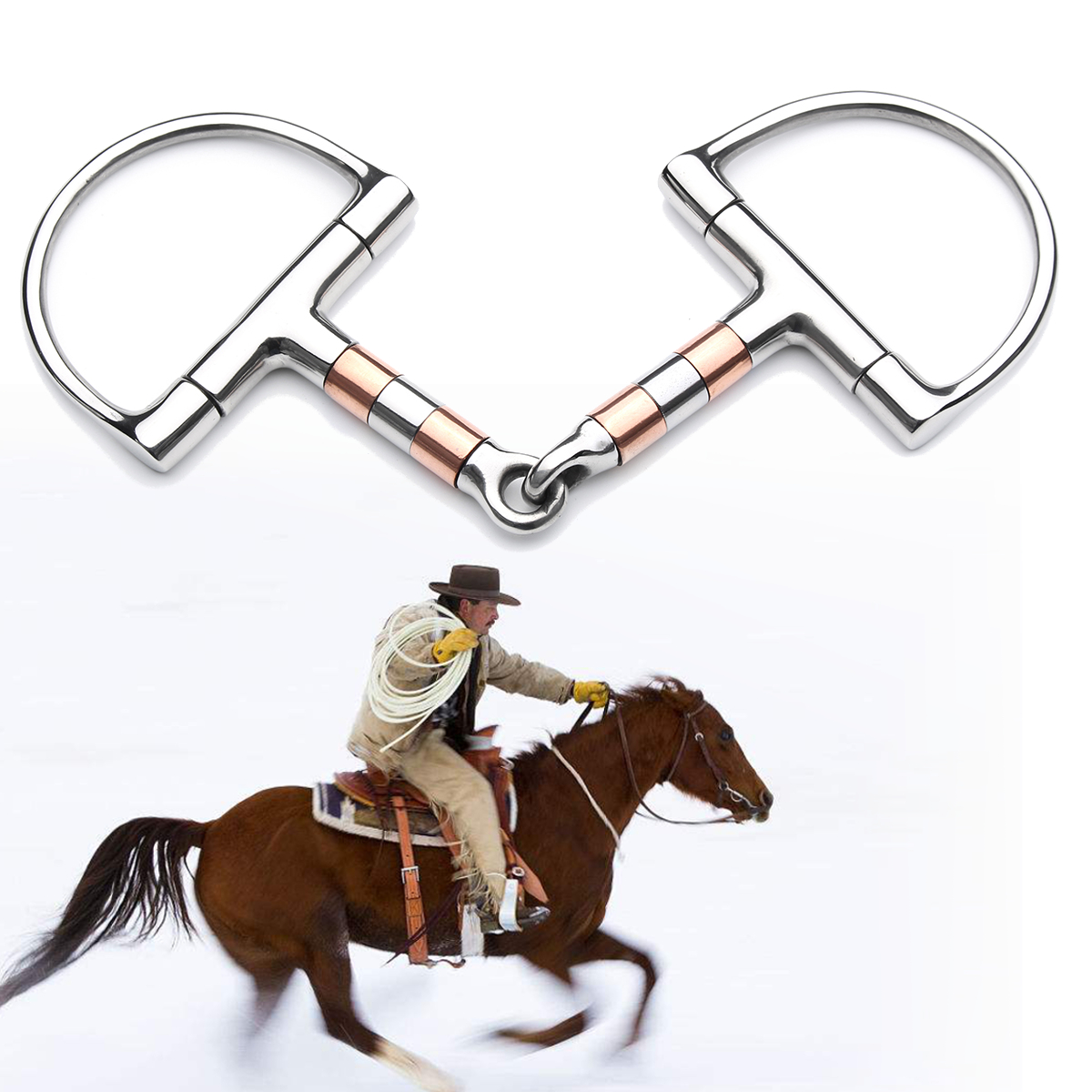 5in BT0401 Stainless Steel D Ring Horse Snaffle Bit Loo