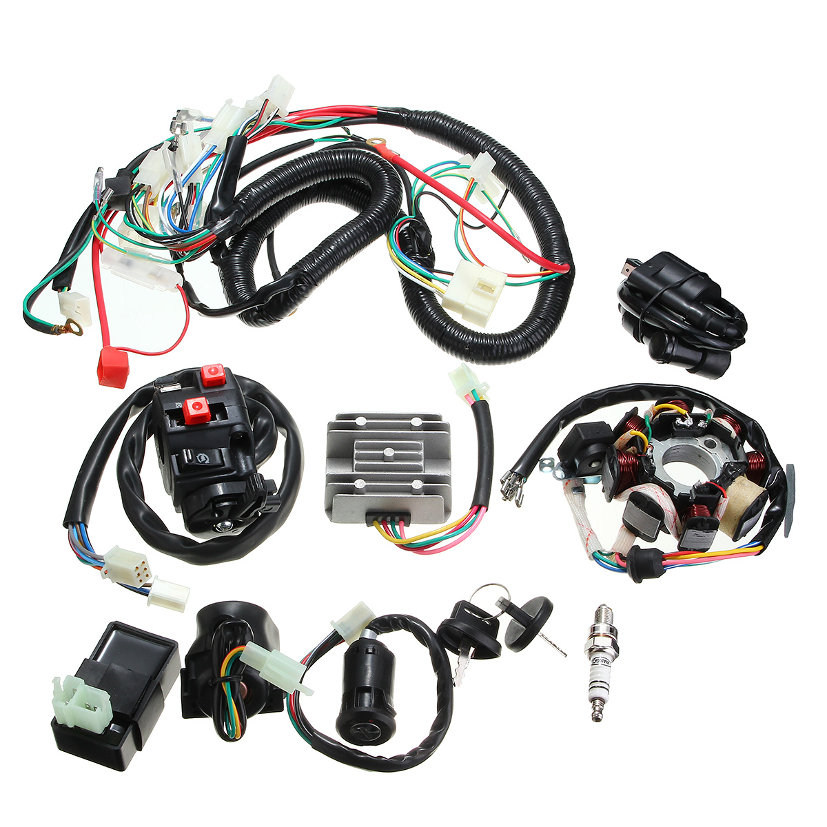 Other Motorcycle Parts 125cc 150cc 200cc 250cc Quad Electric Cdi Electrical Wire Harness Coil Stator Assembly Wiring Set