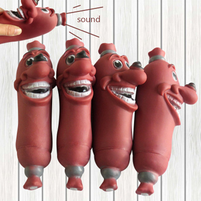 Funny Pet Dog Toys Sausage Squeaky Toys Healthy Soft Plastic Dog Toys Molar Toys Pet Small Gift
