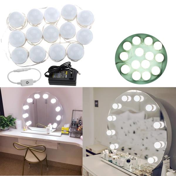 5M 14LEDs Hollywood Style White LED Vanity Mirror Light