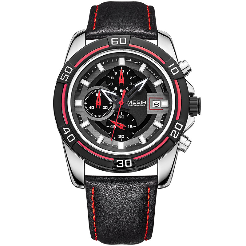 MEGIR 2023 Men Watch Luxury Leather Strap Chronograph C