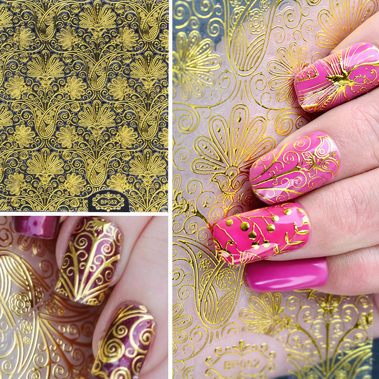 1 Sheet 3D Gold Embossed Nail Stickers Flower Blooming