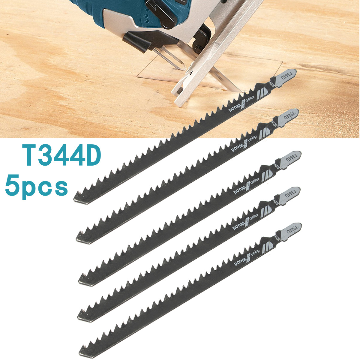 5pcs HCS T Shank Saw Blades Wood Plastics Plywood Cutti