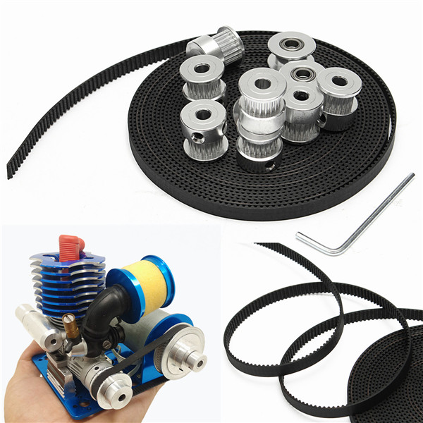 8pcs GT2 20T Bore 5mm Timing Pulley with 5m Belt and 2p