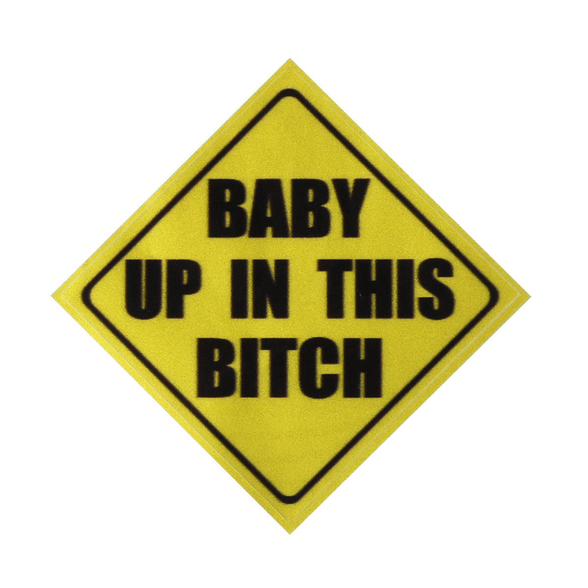 4x4 Inch Yellow Warning Baby In Car Vinyl Decal Sticker