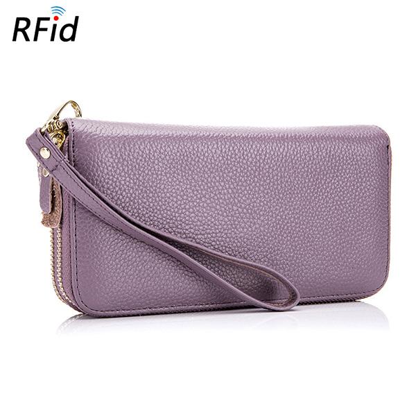 Women RFID Blocking Genuine Leather Long Purse Large Ca