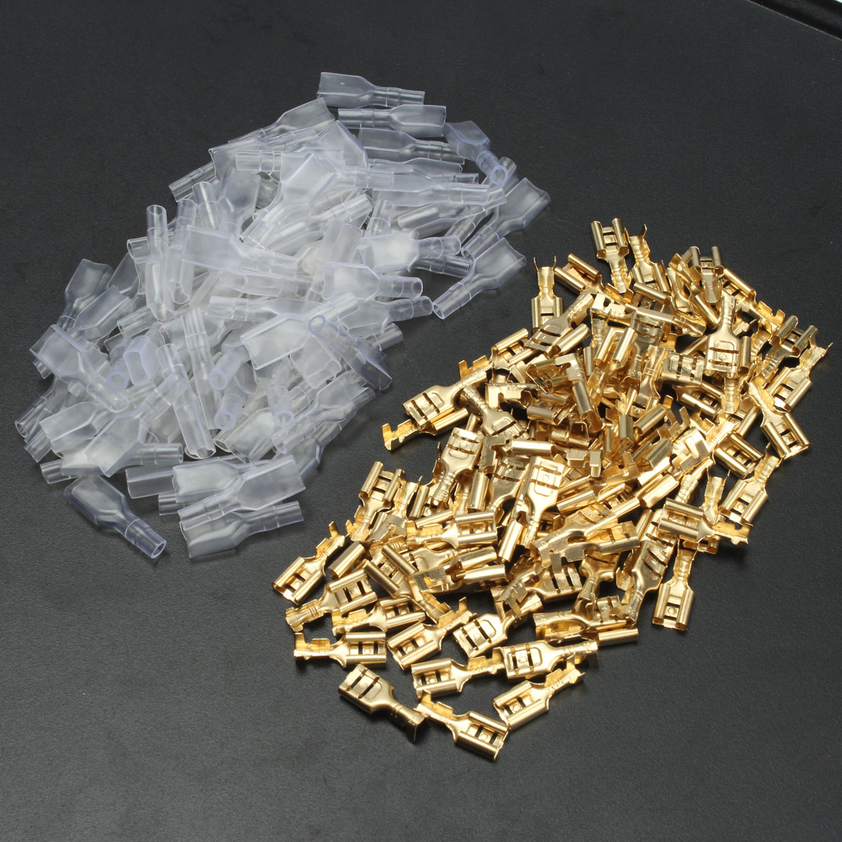 100Pcs Copper 6.3mm Female Spade Crimp Terminals 22-16A