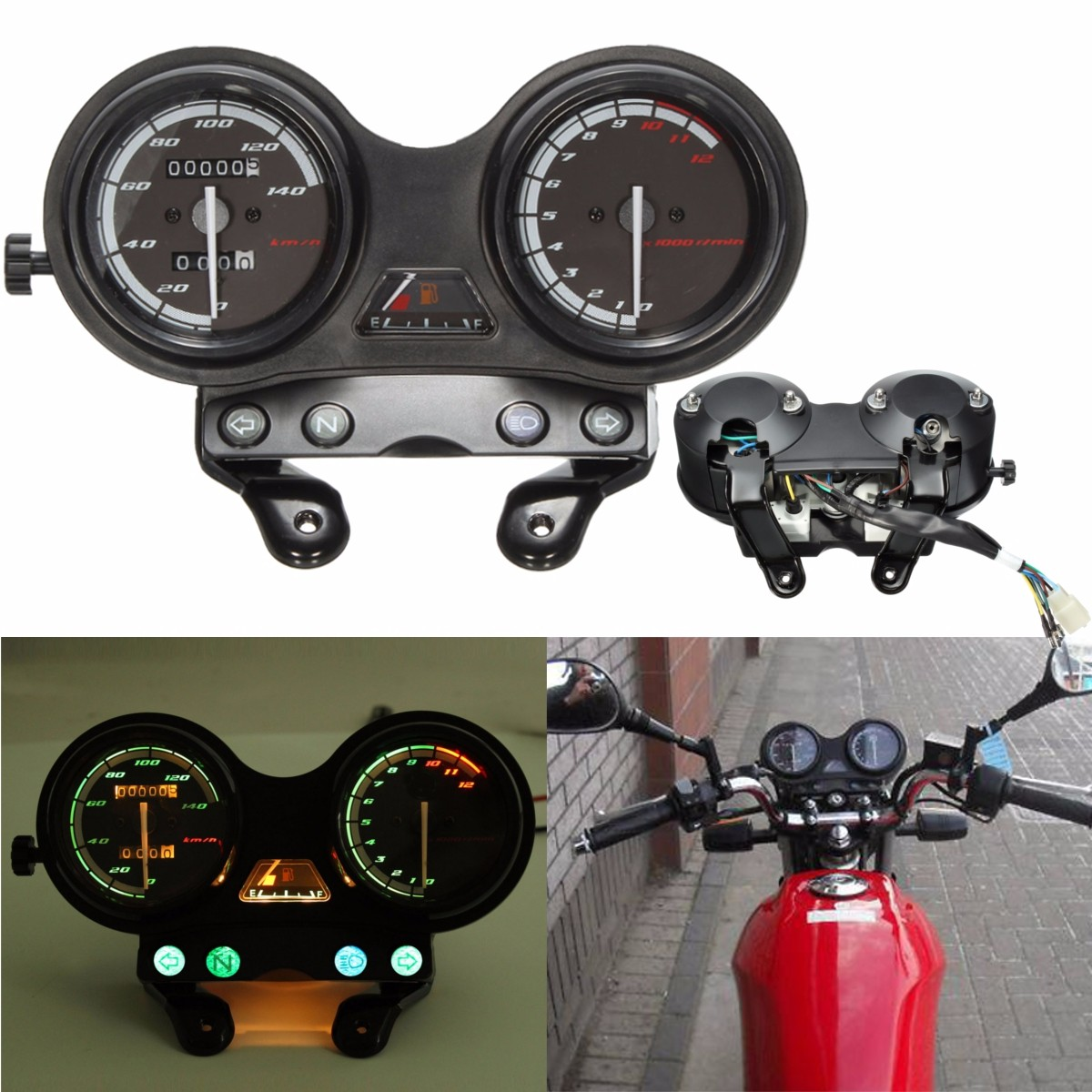 12000RPM Motorcycle LCD Odometer Speedometer For Yamaha