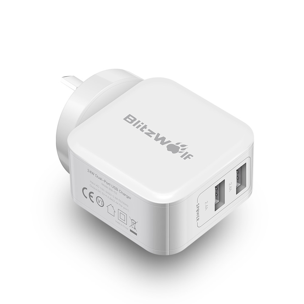 BlitzWolf BW-S2 4.8A 24W Dual USB AU Charger With Power
