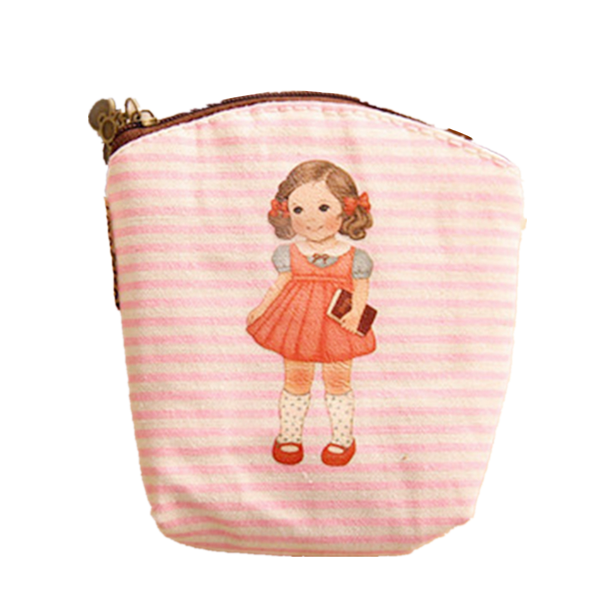 Cute Girl Doll Canvas Coin Purse Pouch Clutch Bag