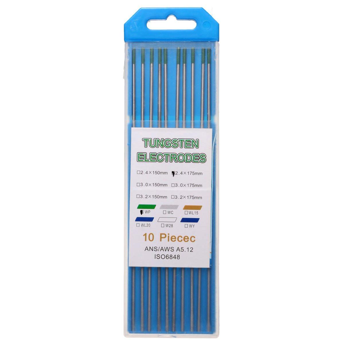 10Pcs 175x2.4mm WP Green Welding Tungsten Electrode Wel