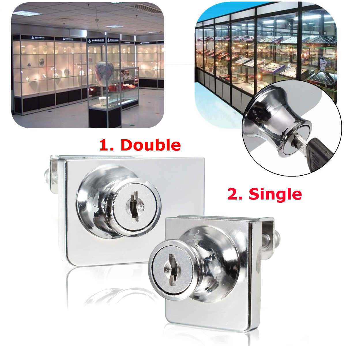 Other security surveillance single double glass cabinet door lock cam key showcase display for Cam lock kitchen cabinets