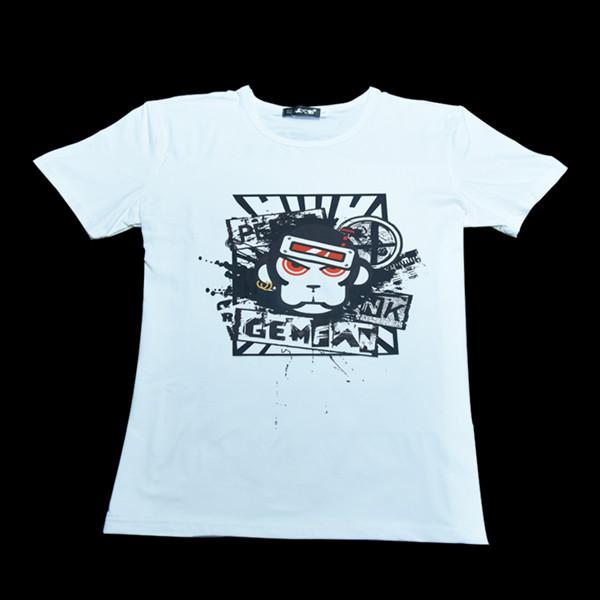 Gemfan WL-01 Monkey Modal Cotton White T-Shirt Crewneck Short Sleeved