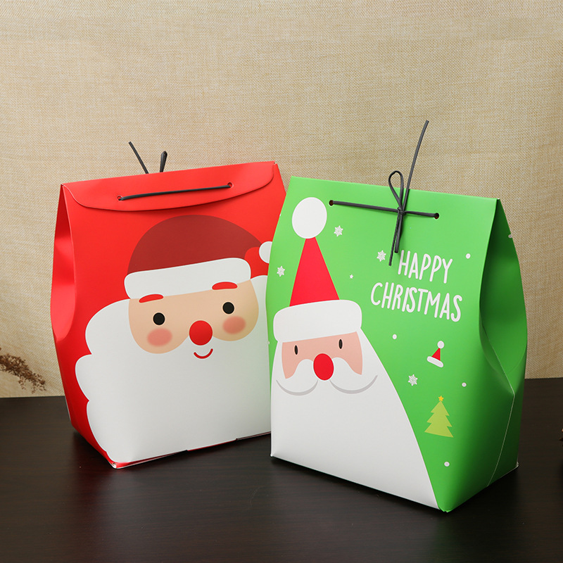 Christmas Day Stocking Gift Box Cute Santa Decoration C
