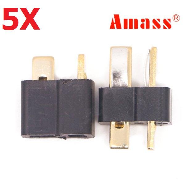 5 Pair Amass AM-1015 T Plug Connector Black Male & Female
