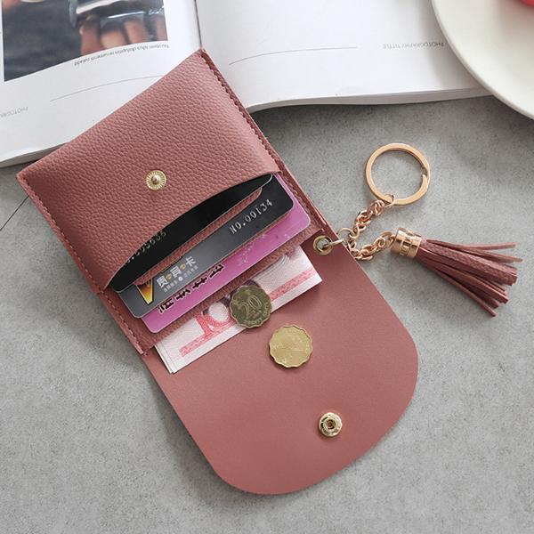Women's Simple Light Buckle Metal Ring Tassel Wallet Pu