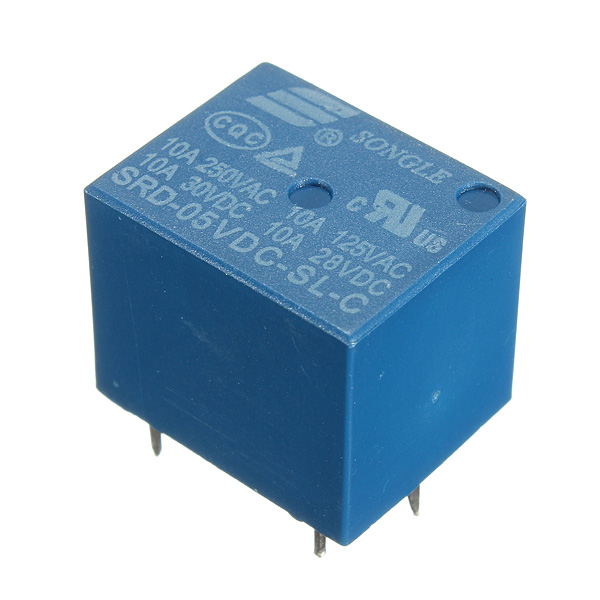 10Pcs Mini 5V DC Power Relay SRD-5VDC-SL-C 5 Pin PCB Ty