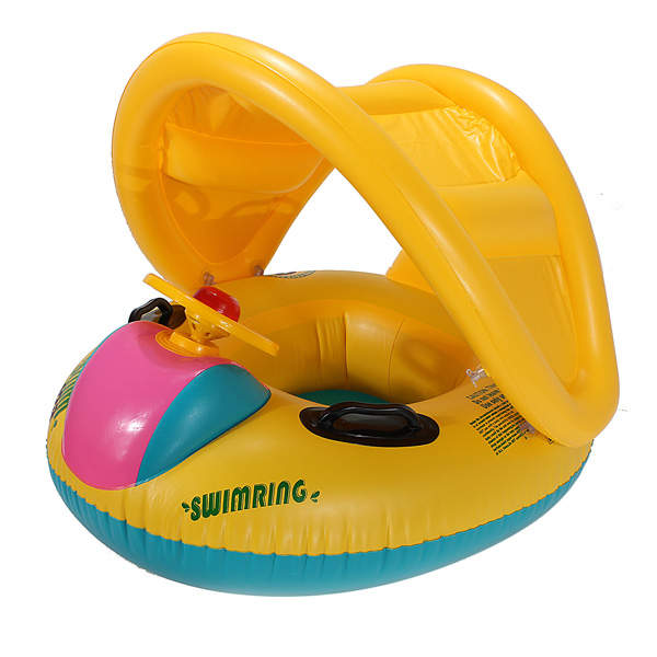 Adjustable Sunshade Baby Swim Float Seat Boat Inflatable Ring