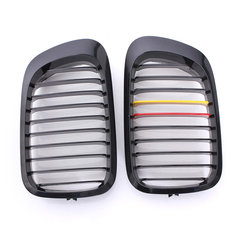Front Gloss Black M Style Grilles Replacement For BMW E46 2 Door 98-02