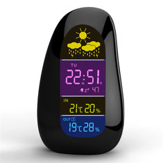 Wireless Weather Station Clock Pebble LED Alarm Clock Wireless Weather Report