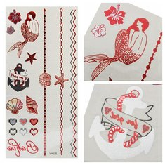 Mermaid Starfish Red Metallic Temporary Tattoos Body Art Sticker