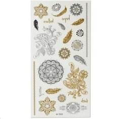 Flower Circle Gold Silver Metallic Temporary Tattoos Body Art Sticker