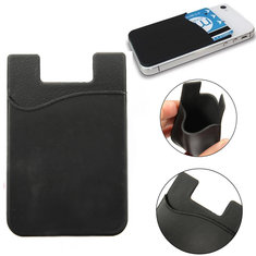 Protable Black Silicone Wallet Card Credit Card Holder For Smartphone Samsung Xiaomi