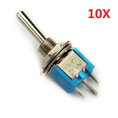 Wendao SMTS-102 ON/ON AC 125V 6A 2 Pins Mini Toggle Rocker Switch 10pcs