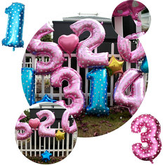 40 Inch Aluminum Foil Number Balloon Heart Shape Pattern Wedding Valentine Party Decoration