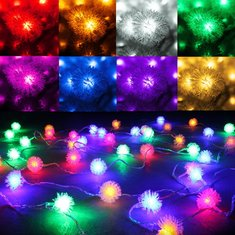 4M 40LED Snow Pompon Fairy String Light For Christmas Party Garden Decoration