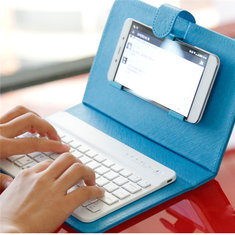 Universal Wireless Bluetooth Keyboard Holster Flip PU Case Cover For Cell Phone in 4.5''-6.5''