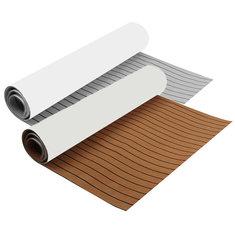 300x90x0.6cm EVA Foam Brown/Gray With Black Line Boat Flooring Faux Teak Decking Sheet