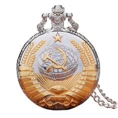 TIEDAN P380 bronzo di tasca del quarzo orologio d'oro ciondolo antico Hammer retrò falce sovietico steampunk