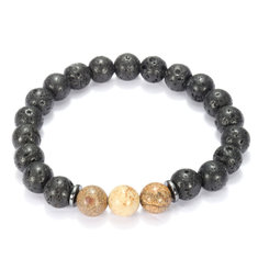 8mm Lava Beads Black Gallstone Men Bracelet Chain