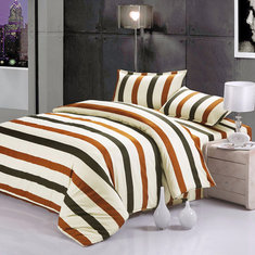 3 Or 4pcs Stripe Dot Cotton Blend Paint Printing Bedding Sets Twin Full Queen Size