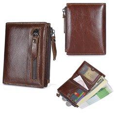 Men's Vintage Genuine Leather Brown Short Wallet Card Holder Coin Pocket Purse