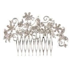 Bride Butterfly Flower Crystal Rhinestone Alloy Hair Clip Comb Wedding Bridal Headpiece Accessories