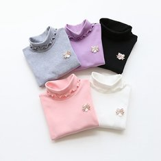 Baby Children Girl Pure Color Lacy Turtleneck Long Sleeve Top