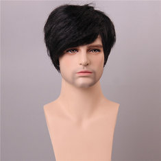 Black Short Human Hair Wig Men Male Mono Top Virgin Remy Capless Side Bang Fluffy