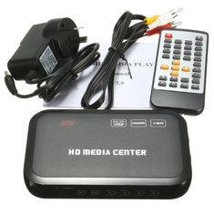 Full HD 1080P HDMI VGA Media Video Player RM RMVB MKV With Remote Controller Black