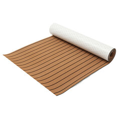 240cm x 90cm x 6mm EVA Foam Faux Teak Sheet Brown with Black Lines Boat Yacht Synthetic Teak