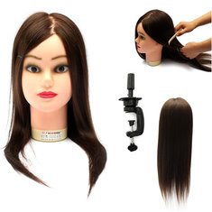 18 Inch Real Hair Mannequin Practice Training Head Hairdressing Clamp