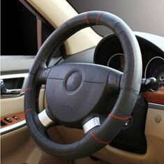 Car Genuine Cowhide Leather Steering Wheel Cover for 15 Inches Wheel Size
